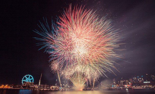 Docklands Winter Fireworks on a Boat in 2016!