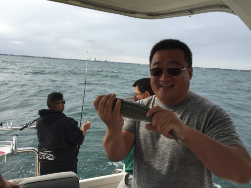 Chinese boat club members like to fish